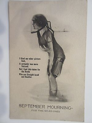 September Mourning- 1910s Antique Postcard- Woman in Swimsuit- For the Dead Ones