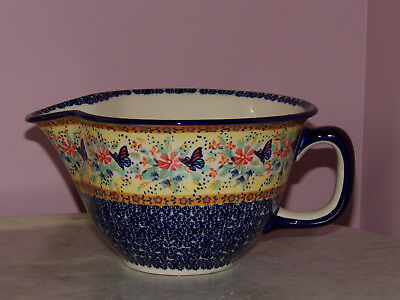 Genuine UNIKAT Polish Pottery Large Batter Bowl! Butterfly Summer Pattern!