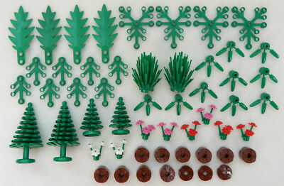 50+ NEW LEGO GREENERY PIECE LOT plants pine tree flower palm bamboo bulk part