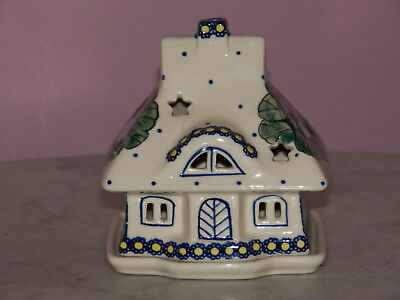 Collectible Polish Pottery Illuminated Cottage House Tea Light! Mila Pattern!