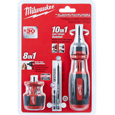 Milwaukee 48-22-2302C 10in1 Sq Drive Ratcheting Bit Driver w/ Stubby Driver New