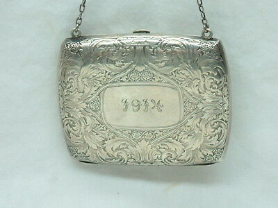 ENGLISH / GERMAN ANTIQUE 1914 SOLID STERLING SILVER CHATELAINE PURSE - Maker??