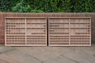 2x Vintage old wooden printers draw drawer / tray 65 x 44 cm - FREE POSTAGE