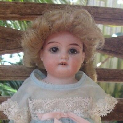 """Rare Small Size Antique German Shoulder Head Doll 12"""" tall Mold L.H.B. 60"""