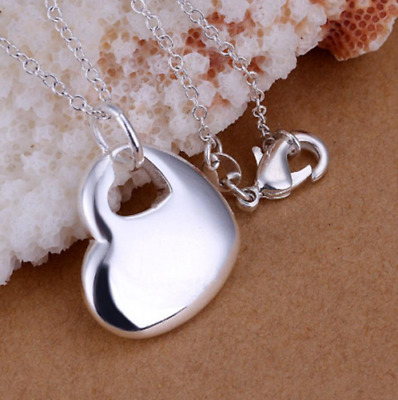 "Womens 925 Sterling Silver Love Heart Pendant 18"" Rolo Chain Necklace #N112"