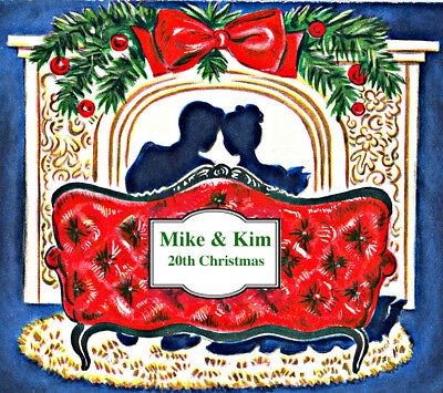 Romantic Couple Personalized Christmas Ornament, Handcrafted Fireplace Card Gift