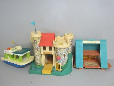 Lot 3 Fisher Price Vintage Play Sets w/ Play Family Castle, A Frame+