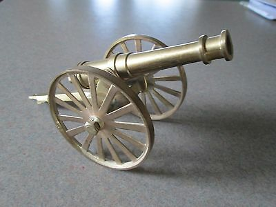 """Vintage Small Brass Cannon 8"""" Long Nice Detail"""