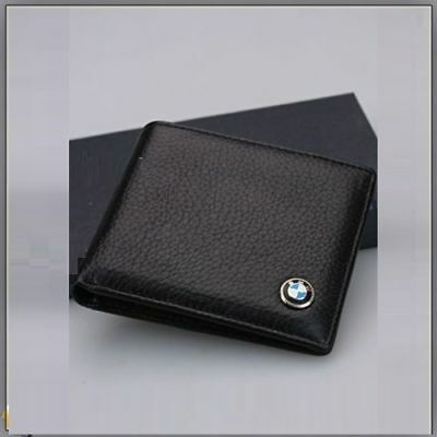 BMW Wallet Black Leather Bifold Men Purse With Car Logo High Quality , UK Stock