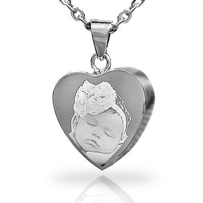 Engraved Personalised Heart Cremation Urn Pendant Memorial Jewellery St. Steel