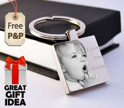 Metal Personalised Square Keyring Keychain PHOTO ENGRAVED Christmas Gift
