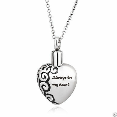 """Cremation Urn Pendant with Necklace - Engraved """"Always In My Heart"""" Keepsake"""