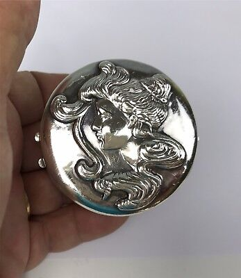 Sterling Silver Art Nouveau Pill Box Repousse Woman Profile w/ Flowing Hair