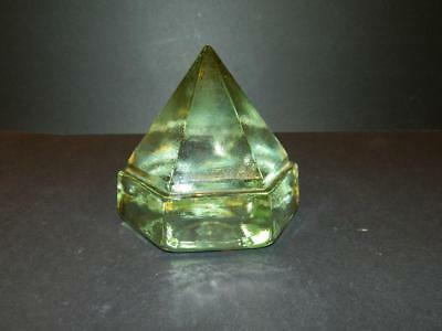 6 Sided Green Glass Ship's Deck Prism Pyramid Shape Heavy Vintage