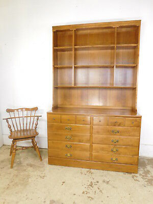 "VTG Ethan Allen Nutmeg Maple CRP 6 Drawer Dresser 48""W Hutch Triple Bookcase Top"