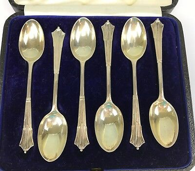 "Boxed Set 6 London Sterling Silver 4-1/2"" Demitasse or Chocolate Spoons 1924"