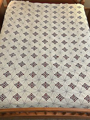 Matching Pair Antique ca. 1900 Cotton Crochet Bedspreads/Coverlets  94 x 81""