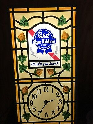 """Stained Glass"" Look Pabst Blue Ribbon Light Up Clock New Old Stock NR"