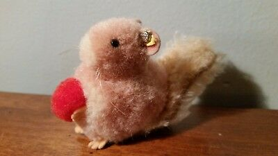 "Vintage 2"" Steiff Miniature Mohair Wool Pom Pom Squirrel Collectible Toy-Germany"
