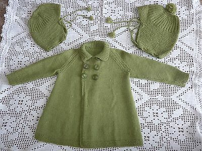 Vintage Knitted Jacket & 2 Bonnets WW2 Events  Age 12- 24 mths Original VGC