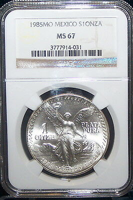 1985-MO  Mexico NGC MS67 UN PESO .720 Silver ASW  34mm  16.66g POP 233