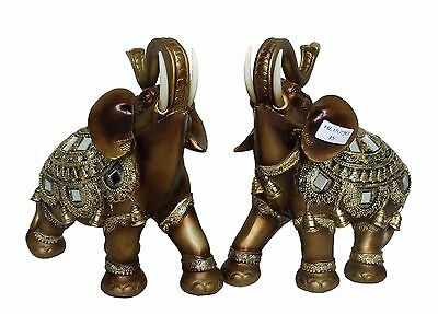"2x Royal Elephant Pair Statue Figurine Gold Bronze Finish 6"" x 6.5"""
