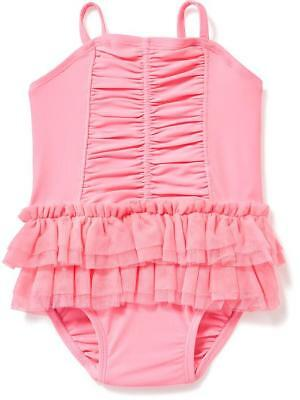 NWT OLD NAVY GIRLS SWIMSUIT SWIM one-piece tutu ruched pink  u pick size