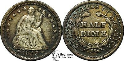 1853 arrows Seated Liberty Half Dime EF XF+ rare old type coin original money