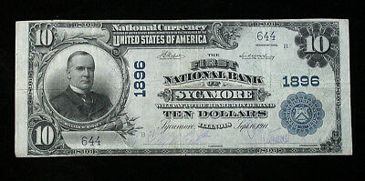 1902 First National Bank of Sycamore Illinois. National Currency Large $10 Note