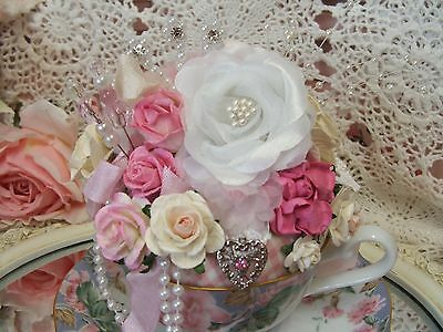 Shabby ~ Rhinestones ~ Heart Charm ~ Roses ~ Pink & Blue ~ Teacup ~ Pin Cushion