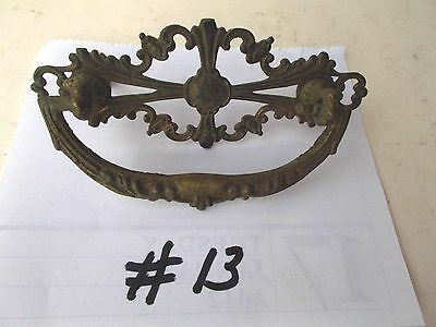 ANTIQUE ORNATE BRASS  DRAWER CABINET FURNITURE PULLS HANDLE/ KNOB PIC  #13a
