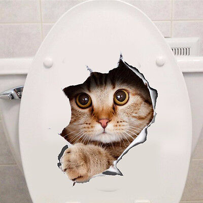 Wall Decor 50% Charity Stickers Decal Home Art Cat 3D Animal Toilet Bathroom #03