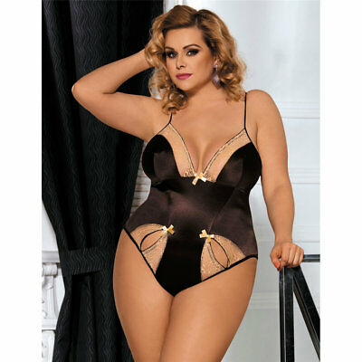 Plus Size Brown Satin and Gold Lace Teddy Women's Lingerie Sizes XL to 5XL