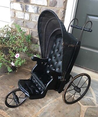 "Vintage Early 20th Century Original 24""X23""X13""doll Carriage Black Rare."