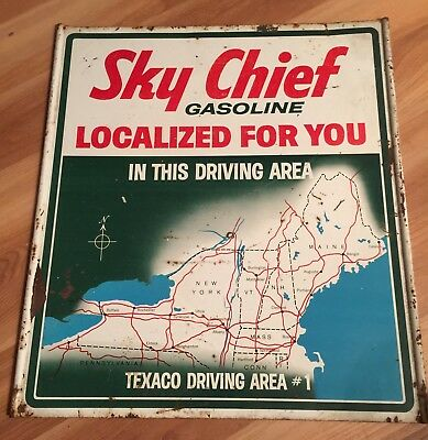 Vintage Texaco Sky Chief Gasoline Localized For You Map Sign Double Sided Area 1
