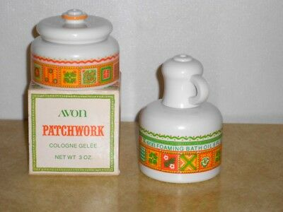 2 Bottles Avon PATCHWORK Cologne Gelee and Foaming Bath Oil 1970s Free Ship