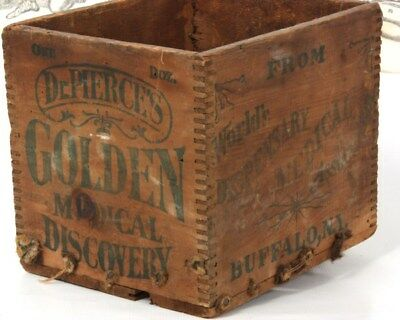 Antique Early 1900's Wooden Crate Dr. Pierce Golden Medical Discovery