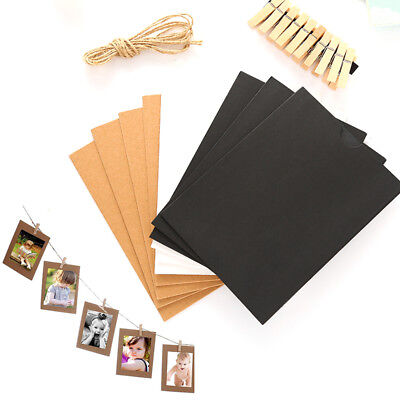 10 Set Vintage Paper Photo Frame DIY Wall Picture Rope Clip Decor 3 Inch
