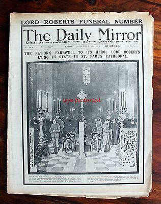 Ww1 Daily Mirror Nov 20 1914 - State Funeral Of  Field Marshal Earl Roberts