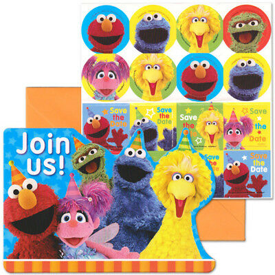 "Sesame Street Elmo Invitations (8) Birthday Party Supplies cards ""Save the Date"