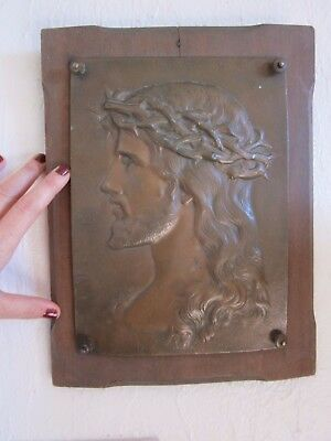 rare sculpture plaque medaillon relief tete buste jesus christ dieu no bronze