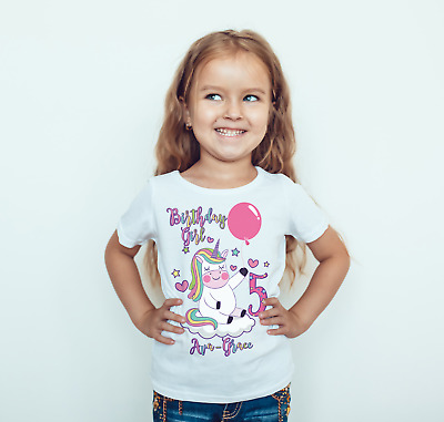 Childrens personalised Birthday T shirt Unicorn design child/kids/toddler/baby