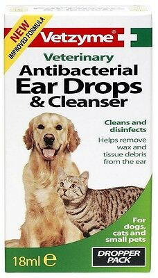 Vetzyme Pet Ear Drops Cleanser 18 ml Antibacterial Cats Dogs Clean Disinfect