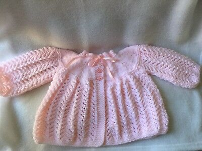 Hand Knitted Baby Girls Pink Matinee Coat 0/3 Months