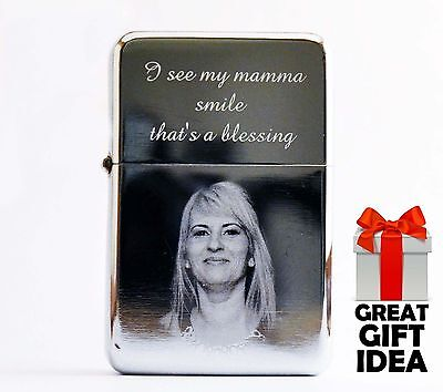 Photo & Text Personalised Engraved Windproof Lighter Quality Mother's day gift