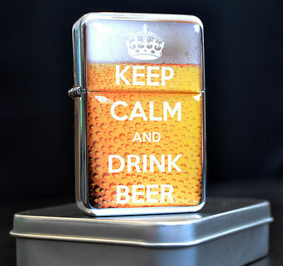Metal Lighter Keep Calm & Drink Beer Personalised Star Windproof Gift
