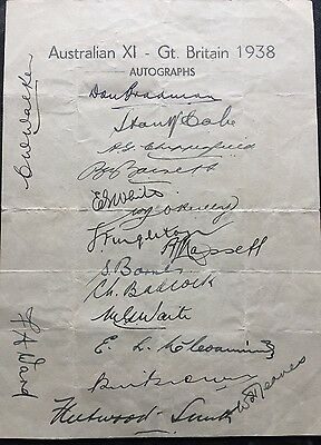 Australian Cricket Team Sheet UK Tour 1938 Very Rare Fully Signed.