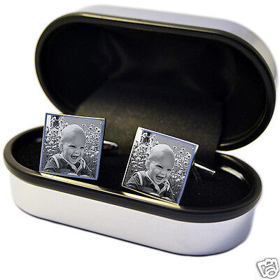 Engraved Photo Cufflinks Personalised idea for Best Man, Wedding, Christmas day