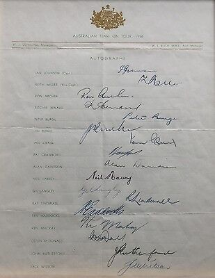 Australian Cricket Team Official Signed Team Sheet 1956 UK Tour