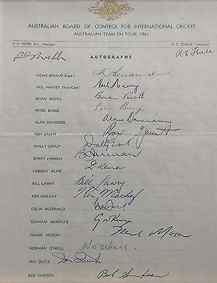 Australian Cricket Team Official Signed Team Sheet 1961 UK Tour